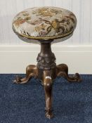 Mid Victorian Walnut Piano Stool Padded Revolving Seat Raised On Turned And Carved Support With