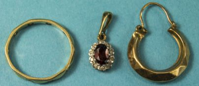 A Small Collection of 9ct Gold Jewellery, 9ct Gold Set Diamond Pendant Drop, Marked 9ct + a 9ct Gold
