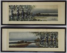 A Pair Of Early 20th Century Panoramic Signed Water Colours. River Scenes. Mounted and Framed.