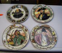 Royal Doulton 4 Cabinet Plates Comprising TC 1046 The Falconer, TC 1045 The Admiral, TC 1049 The