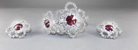 Merlot and Clear Crystal Bangle and Earrings Set, the bangle having two clear crystal openwork