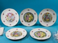 Royal Doulton Five Assorted Valentines Day Cabinet Plates.