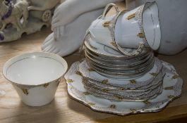 Sampson Smith Old Royal China Part Tea Set comprising sandwich, plate milk, jug, sugar bowl, 6