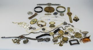 Mixed Lot Of Costume Jewellery Comprising Wristwatches, Bangles, Beads, Necklaces & Pendants,