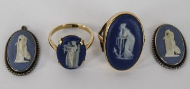 Two 9ct Gold Wedgwood Set Dress Rings,