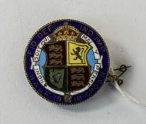 1918 Enamelled Silver Half Crown Adapted Brooch