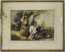 W Hunt - Titled ' Brothers by a Stream ' Watercolour. Signed W Hunt. Mounted and Framed. Painting