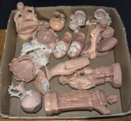 Collection Of Pink Coloured Glass Comprising of figures, jugs, candle holders, table decorations etc