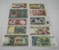 A Collection of Mid 20th Century World Bank Notes ( 11 ) In Total. Comprises Canadian One Dollar,