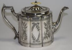An Early Victorian Silver Plated and Ivory Topped Teapot with Ribbed Engraved Floral Patterns and