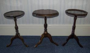 Three Small Modern Tripod Tables