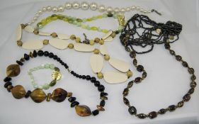 Bag of Large Bead Statement Necklaces including faux pearl, pebble style etc.