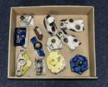 Collection Of Staffordshire Style Pottery Comprising 3 Spaniels, Pastille Burners In Form Of