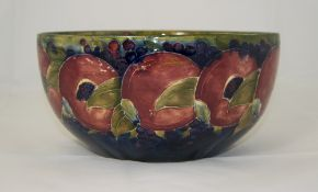 Moorcroft 'Pomegranates and Berries' Pattern Deep Bowl with the unusual feature of having the a band