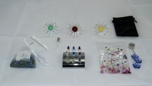 Swarovski Collection of Crystal Flower Figures + Two Bags of Multi-Colours Crystal Miniature