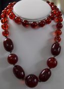 Cherry Amber Graduated Bead Necklace, Length 32 Inches, Gross Weight 102 Grams