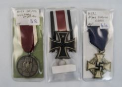 Nazi 25 Year Service Cross Together With A Nazi Social Wefare Medal & 1939 Cross