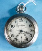 Jaeger Lecoultre World War II - Navigators Chrome Plated Open Face Military Pocket Watch, Complete