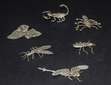 Collection Of Six Silver Bugs, Comprisin