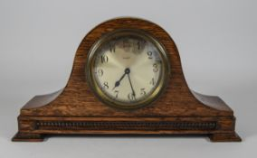 Oak Cased Mantle Clock. Silvered Dial. H