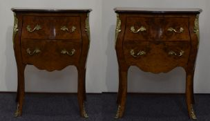 A Louis XV Style Pair of Kingwood Walnut