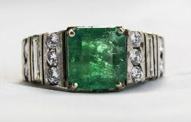 18ct White Gold Set Emerald And Diamond