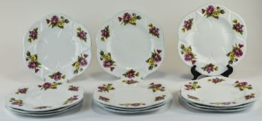 Shelley 1940's Set Of 12 Shaped Plates,