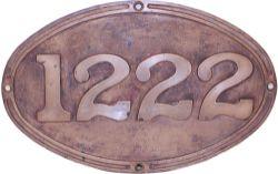 Western Australian Government Railway cast brass Numberplate 1222. Ex Class V 2-8-2 locomotive built