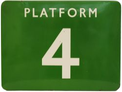 BR(S) enamel Station Platform Sign 'PLATFORM 4' measuring 24in x 18in inches. Excellent colour and