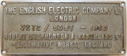 Worksplate The English Electric Company Ltd London 3272/8387 - 1963 Robert Stephenson & Hawthorns