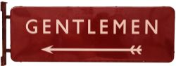 BR(M) enamel Station Platform Sign 'GENTLEMEN' with arrow beneath F/F. Double sided with wall