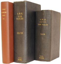 GWR Timetable Books, hardback dated 1866 and 1870 together with a GWR 'Ports' book dated 1931. In