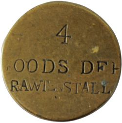 LYR brass Paychecks x 2, stamped 1 PRESTON RO L&Y.R.Co, and 4 GOODS DEP RAWTENSTALL which is back