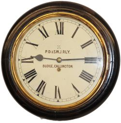 Plymouth Devonport and South Western Junction Railway 12inch mahogany cased Dial Clock, in