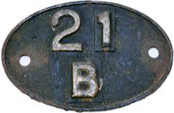 LMS Shedplate 21B Bourneville until February 1960. In original ex loco condition.
