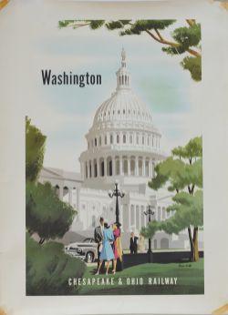 Poster CHESAPEAKE & OHIO RAILWAY. WASHINGTON by BERN HILL (1911-1977) circa 1950 37.5 x 27.5 inches.