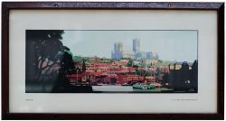 Carriage Print Lincoln by Fred Taylor, from the LNER pre war series, in original style glazed frame.