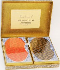 Beyer Peacock Ltd double pack of Playing Cards in box bearing a label 'Compliments of Beyer