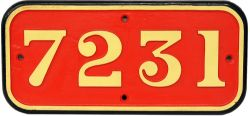 GWR cast iron Cabside Numberplate 7231. Ex GWR Collett 2-8-2T built Swindon Works in December 1935