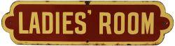NER enamel Doorplate LADIES' ROOM in reverse brown and cream colour. Measures 5.25in x 20in