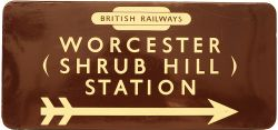 BR(W) Station Direction Sign with British Railways Totem at top WORCESTER (SHRUB HILL) STATION and