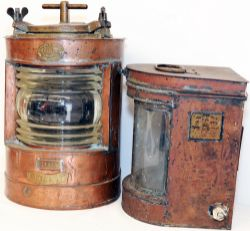 A pair of Ships Lanterns. The first is a substantial lamp bearing the makers plate 'Wm Harvie & Co