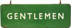 BR(S) enamel Platform Sign GENTLEMEN, double sided, 36in x 12in dark green. In good condition with