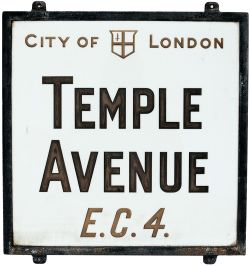 Opal glass London Street Name Sign 'City Of London Temple Avenue EC4'. Mounted in original