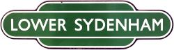 Totem BR(S) LOWER SYDENHAM F/F, dark green, black flange. Ex SECR station between Catford Bridge and