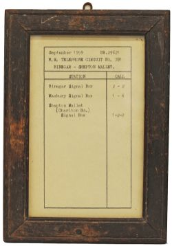 BR(W) Somerset and Dorset section, Telephone circuit notice, issued in September 1959 for the