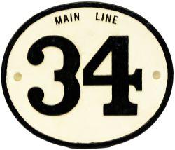 Rhymney Railway c/I Bridgeplate MAIN LINE 34. Measures 13in x 11in, face only restored.