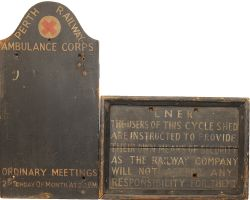 Perth Railway Ambulance Corps wooden Sign together with another wooden sign 'LNER - Users of this