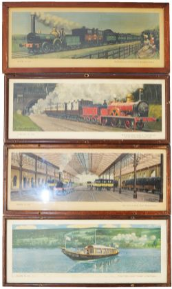 Carriage Prints, qty 4 Hamilton Ellis from the 'Travel In' series. Three in original glazed frames.