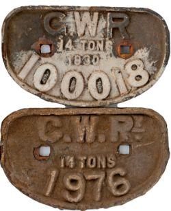 GWR D shape wagonplates x 2